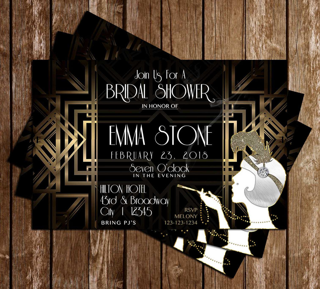 great gatsby bridal shower invitation
