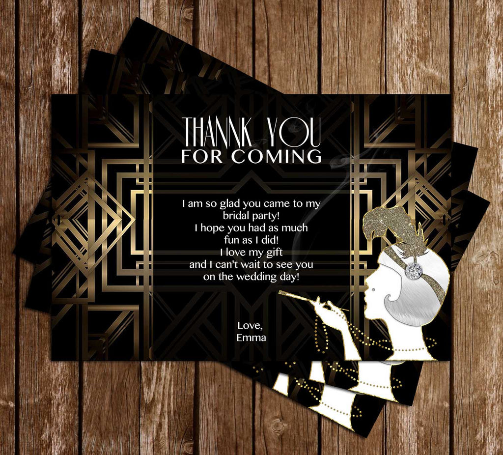 gatsby bridal shower thank you card