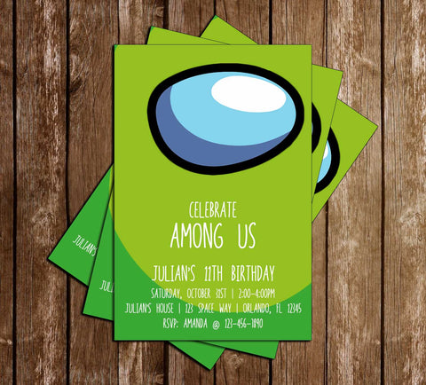 Among Us - Green Crewmate - Birthday - Invitation