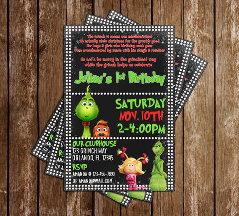 The Grinch - Movie - Birthday Party - Invitation