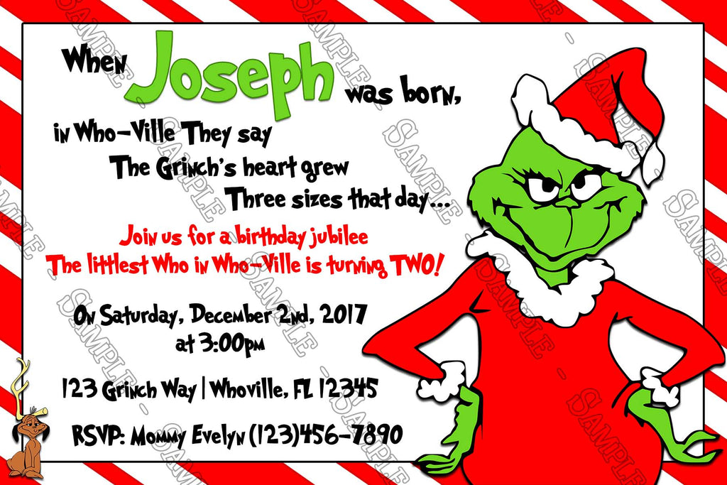 Christmas Birthday Party Invitations.Grinch Christmas Birthday Party Thank You Card