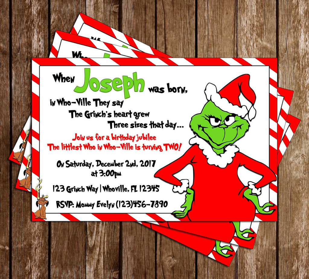 Christmas Birthday Images.Grinch Christmas Birthday Party Thank You Card