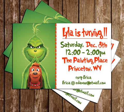 The Grinch - Movie 2018 - Birthday Party - Invitation