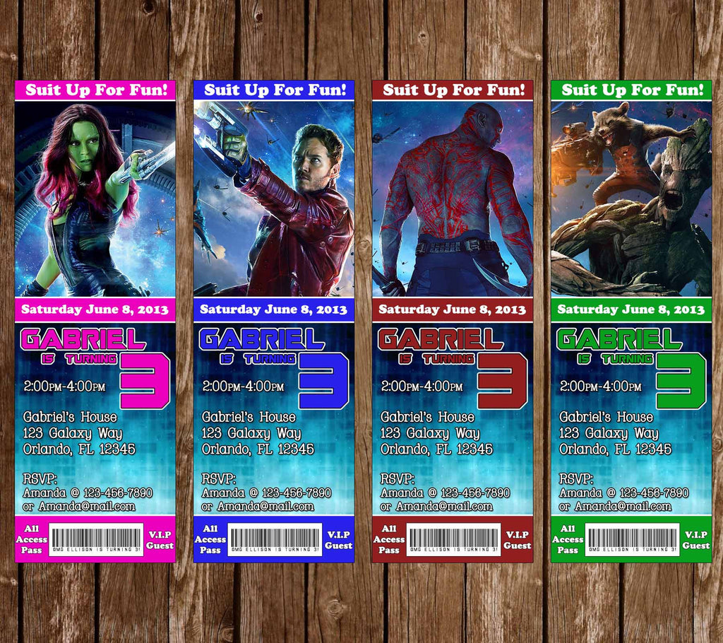 Guardians of the Galaxy Movie Birthday Party Ticket Invitation