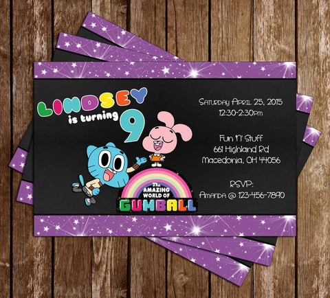 Amazing World of Gumball Purple Birthday Invitation - PRINTED INVITATIONS