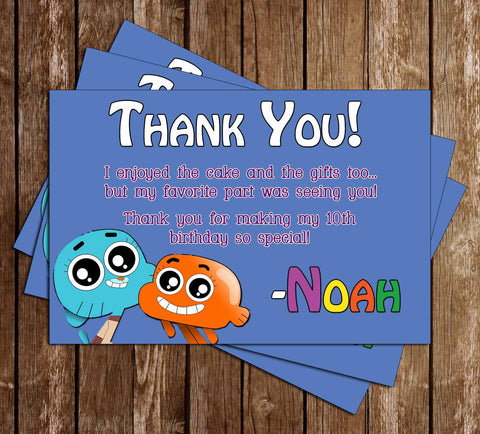 Amazing World of Gumball Show Birthday Thank You Card - PRINTED INVITATIONS