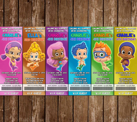 Novel concept designs customized invitations bubble guppies ticket birthday invitation filmwisefo Images