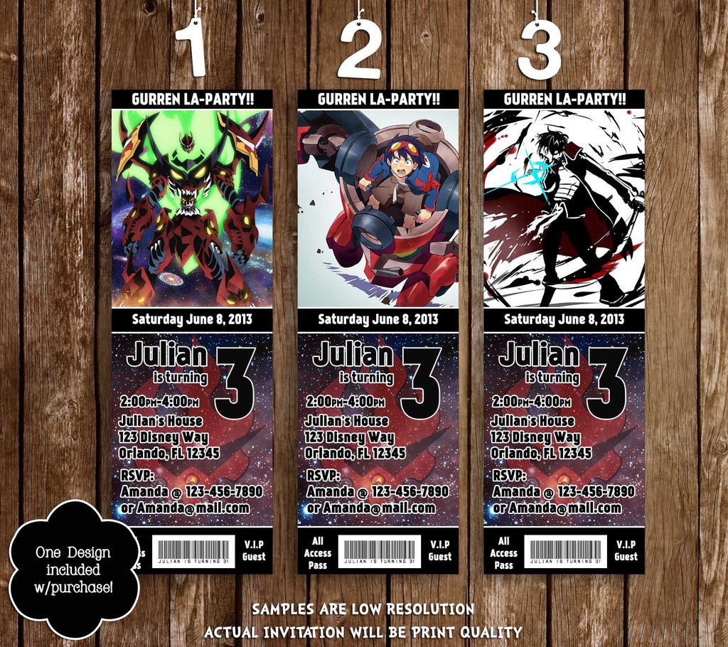 Novel concept designs gurren lagann anime birthday party ticket gurren lagann anime birthday party ticket invitations filmwisefo