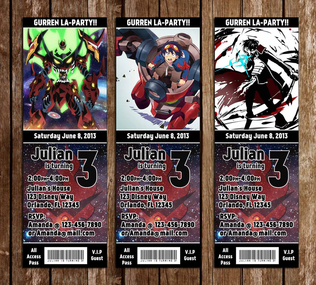 Gurren Lagann Anime Birthday Party Ticket Invitations  Party Ticket Invitations