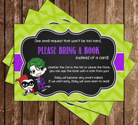 Gender Reveal - Harley Quinn or Joker - Baby Shower - Book Insert