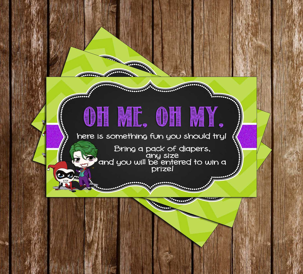 Gender Reveal - Harley Quinn or Joker - Baby Shower - Diaper Raffle Ticket