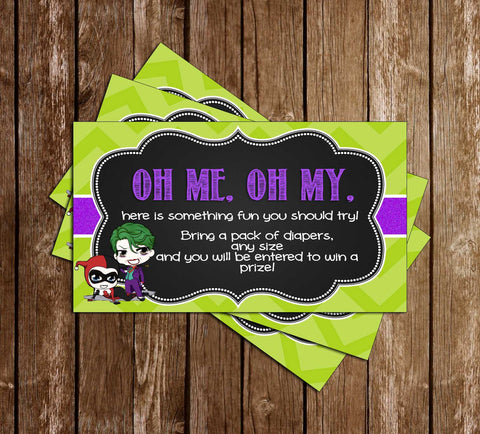 Harley Quinn or Joker - Gender Reveal - Baby Shower - Diaper Raffle Ticket