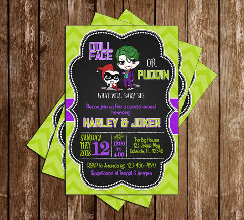 Gender Reveal - Harley Quinn or Joker - Baby Shower - Invitation