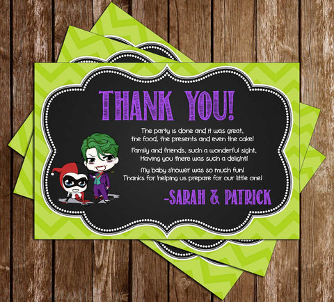 Gender Reveal - Harley Quinn or Joker - Baby Shower - Thank You Card