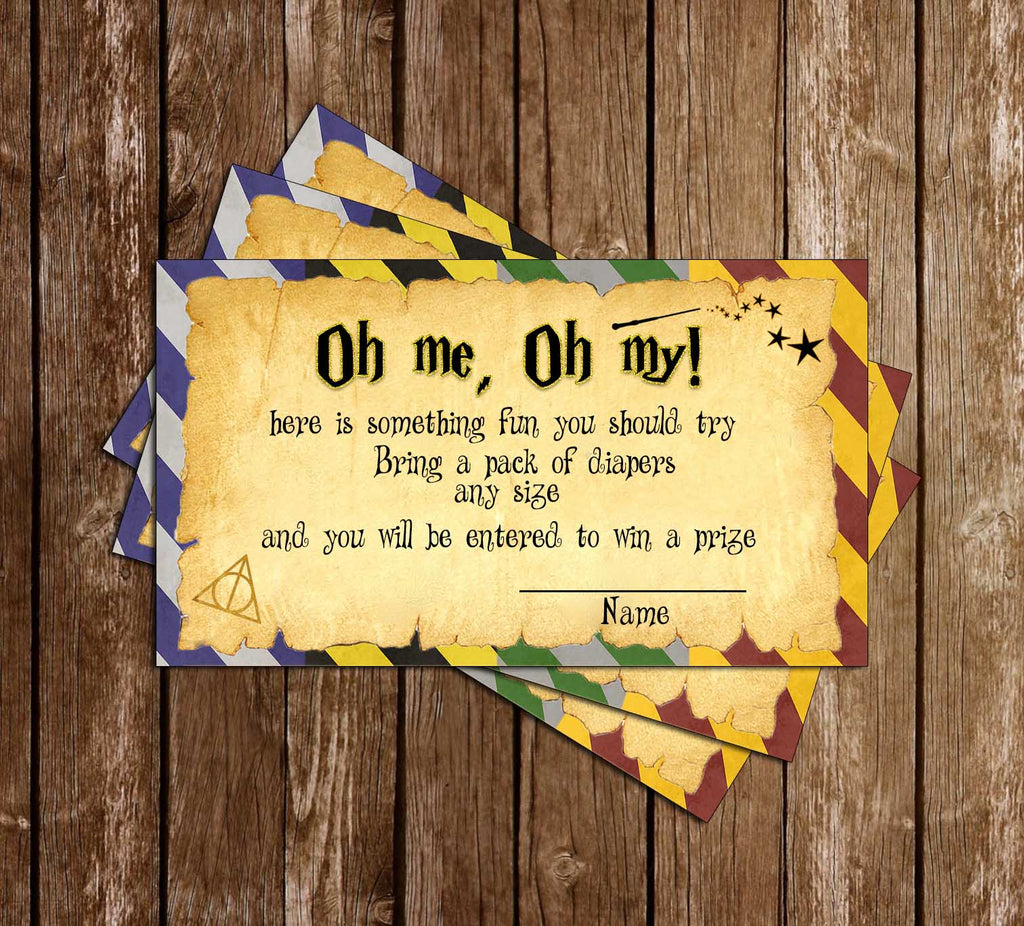 Harry Potter - Hogwarts - Baby Shower - Diaper Raffle Ticket