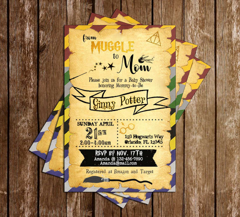 Harry Potter - Muggle to Mom - Baby Shower - Invitation