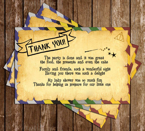 Harry Potter - Muggle to Mom - Baby Shower - Thank You Card