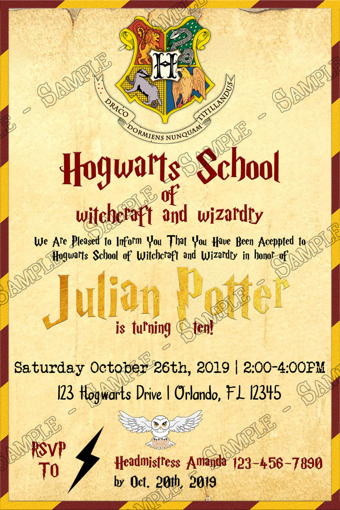 Harry Potter Gryffindor Hogwarts Birthday Party Invitation