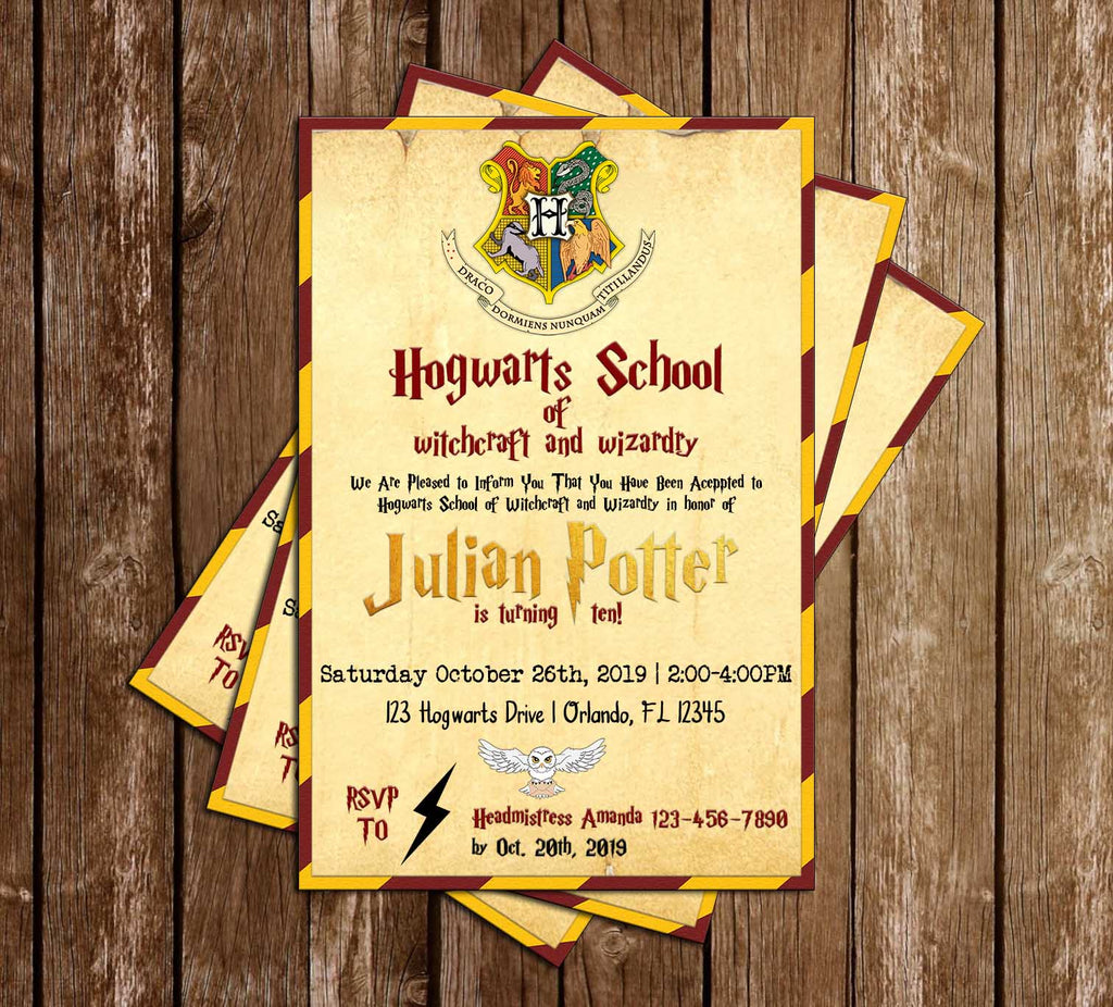 Harry Potter - Gryffindor - Hogwarts - Birthday Party - Invitation