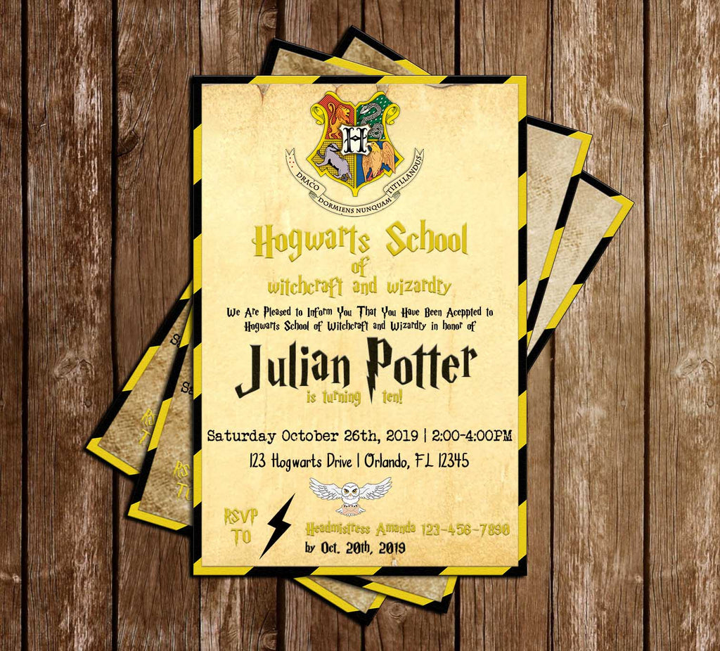 Harry Potter - Hufflepuff - Hogwarts - Birthday Party - Invitation