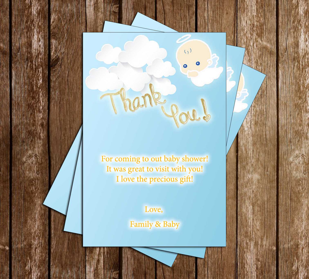 Heaven Sent - Angel - Baby Shower - Thank You Card