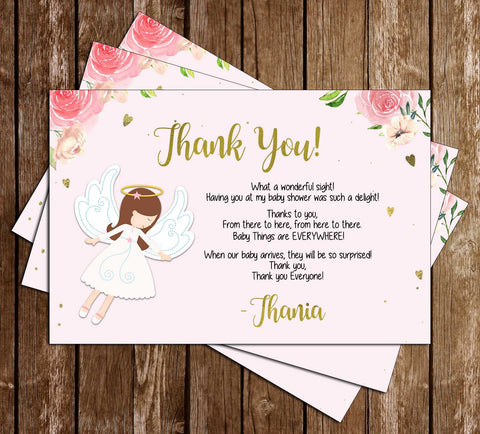 Heaven Sent - Floral - Baby Shower - Thank You Card