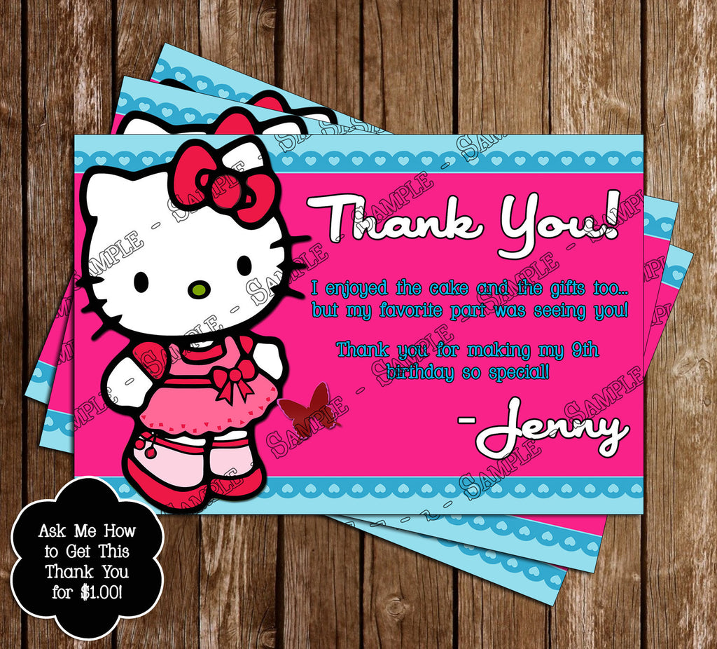 Hello Kitty Character Birthday Party Invitation With Child S Photo Printable