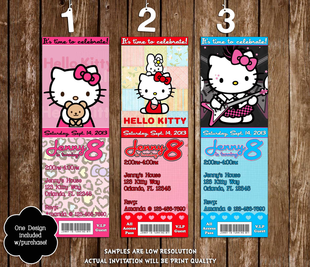 Hello Kitty Character Birthday Party Ticket Invitation Printable  Printable Ticket Invitations
