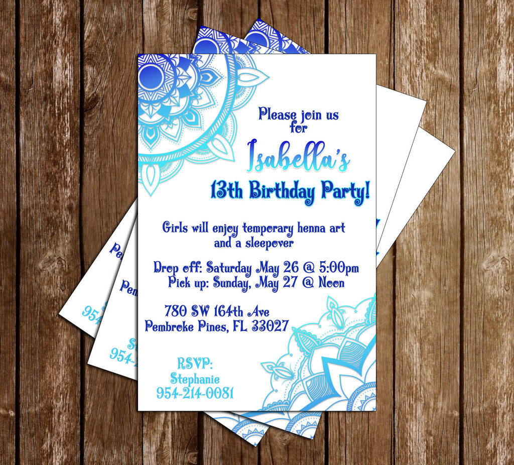 Novel Concept Designs Henna Tattoo Birthday Party Invitation