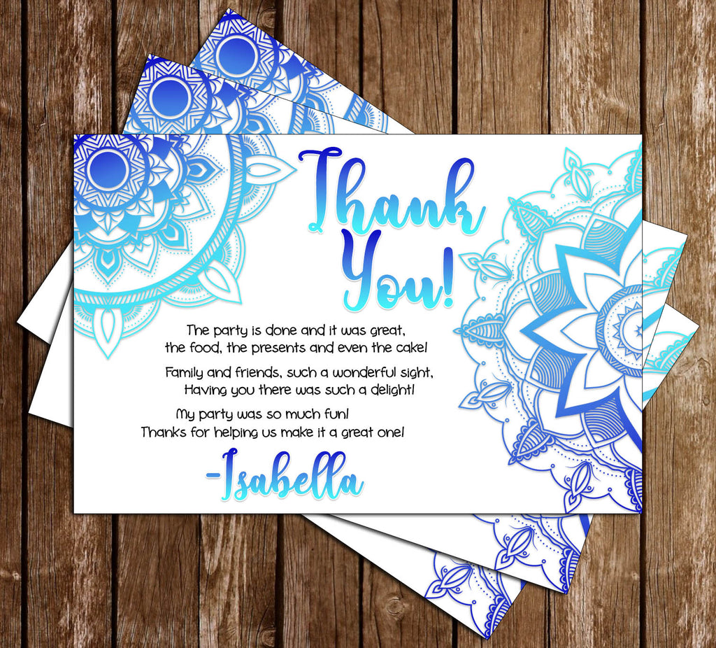 Henna Art / Tattoo - Birthday Party - Thank You Card