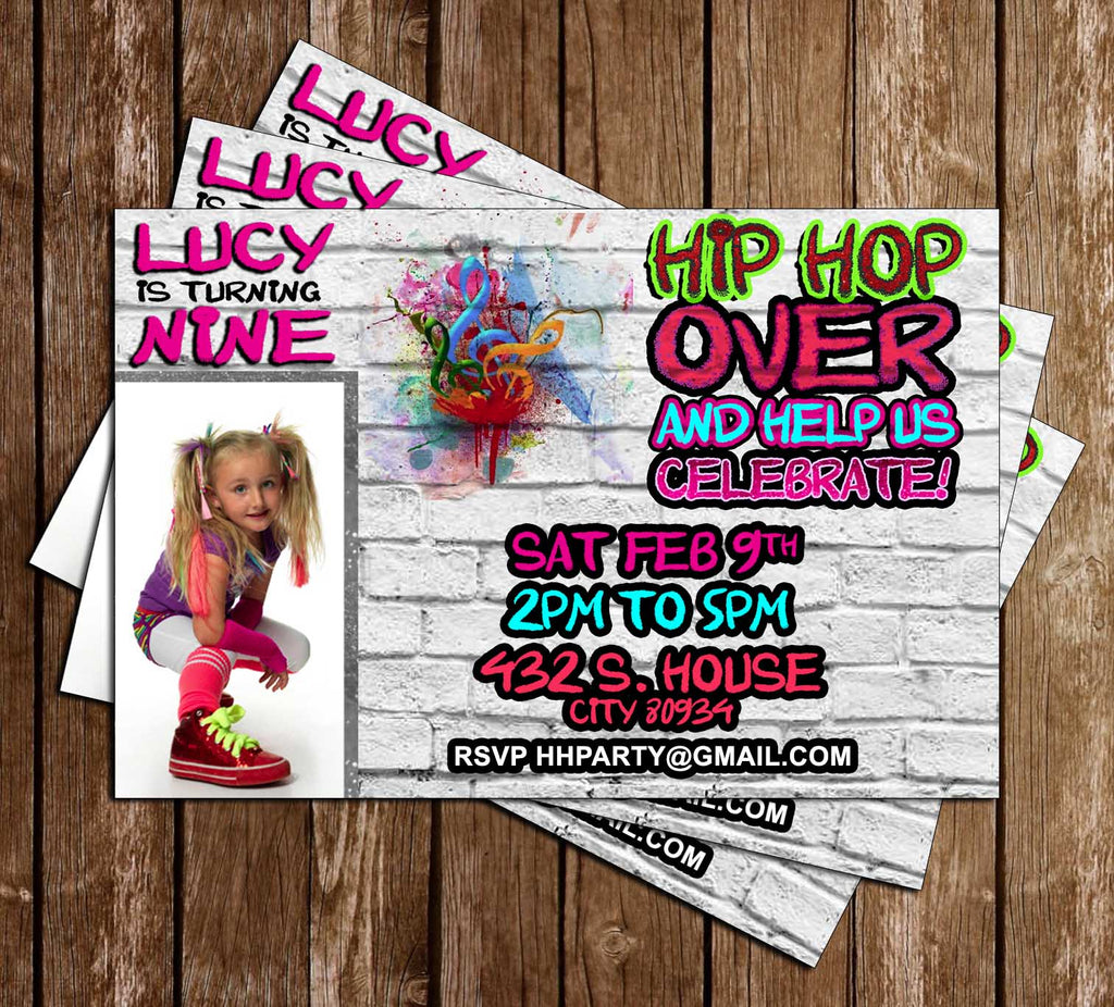 Novel Concept Designs Hip Hop 90s Birthday Party Invitation