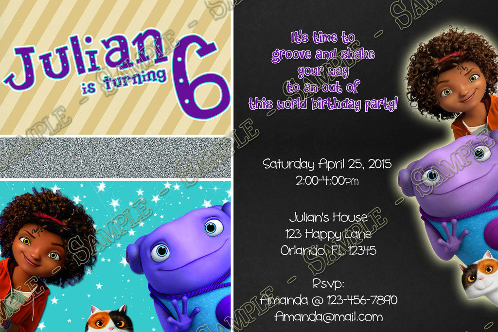 Novel concept designs dreamworks home movie birthday party dreamworks home movie birthday party invitation printable stopboris Choice Image