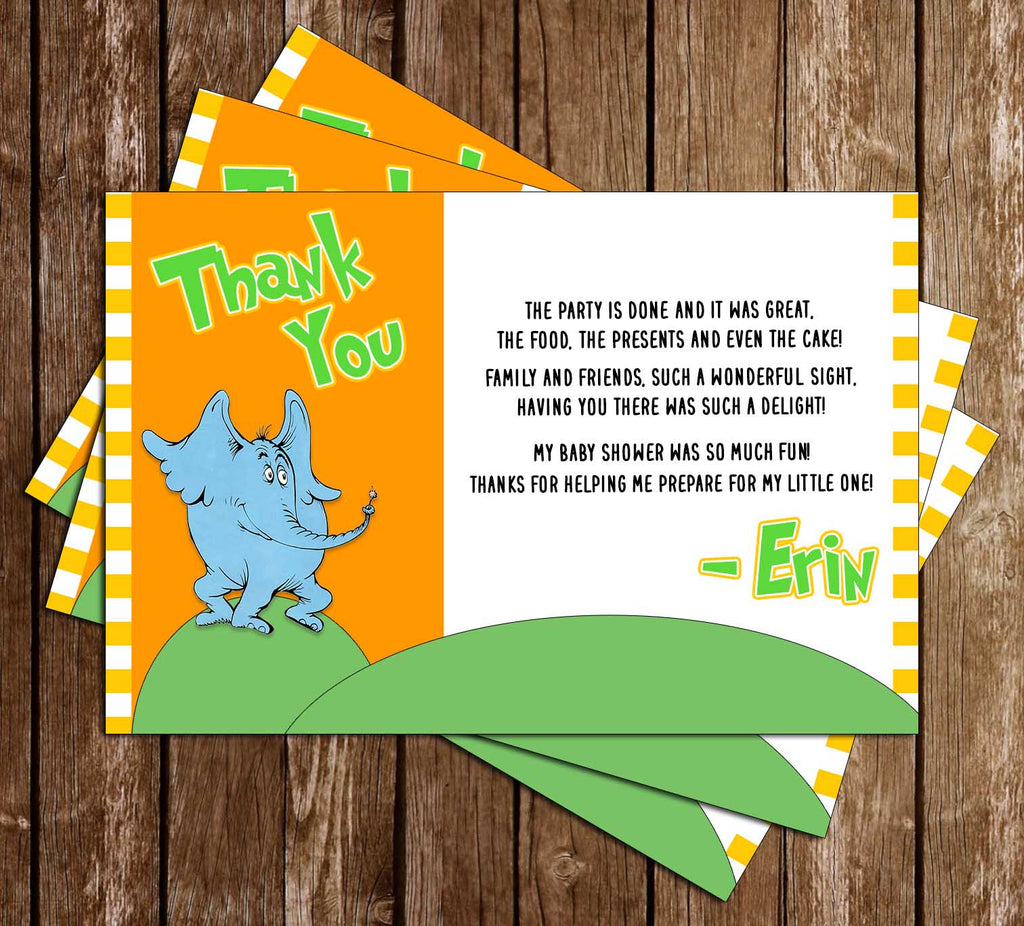 Horton Hears a Who - Dr Seuss - Baby Shower - Thank You Card