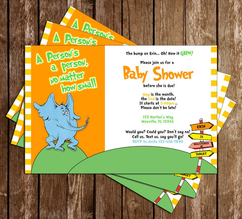 Horton Hears a Who - Seuss - Baby Shower - Invitation