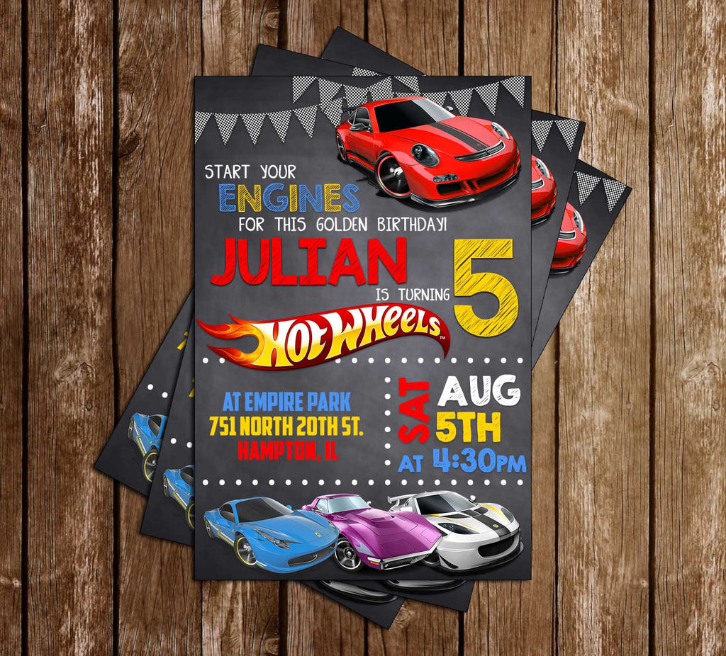 Novel Concept Designs - Hot Wheels - Cars - Birthday Party - Invitation