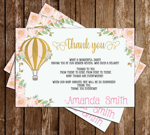 Hot Air Balloon - Floral - Baby Shower - Thank You Card