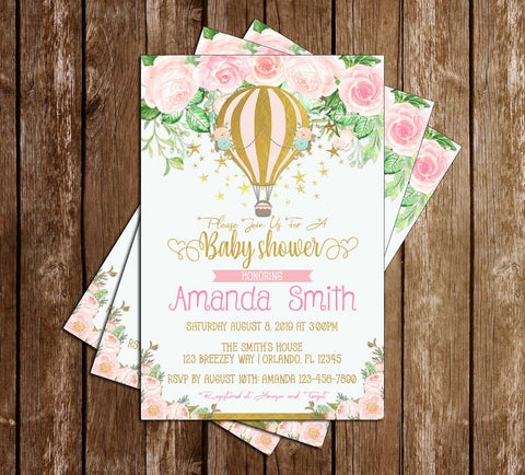 Hot Air Balloon - Floral - Baby Shower - Invitation
