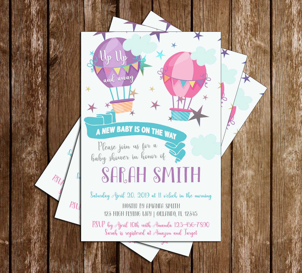 Little Traveler - Up, Up and Away - Hot Air Balloon - Baby Girl Shower -  Invitation