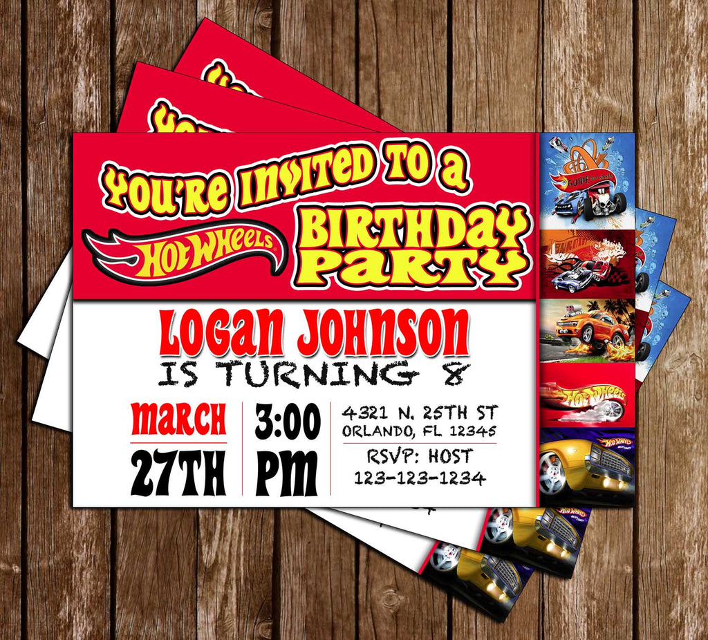 Hot Wheels - Red - Cars - Birthday Party - Invitation