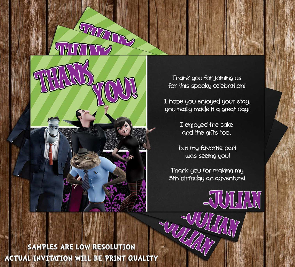 Novel concept designs hotel transylvania birthday party thank hotel transylvania birthday party thank you card monicamarmolfo Images