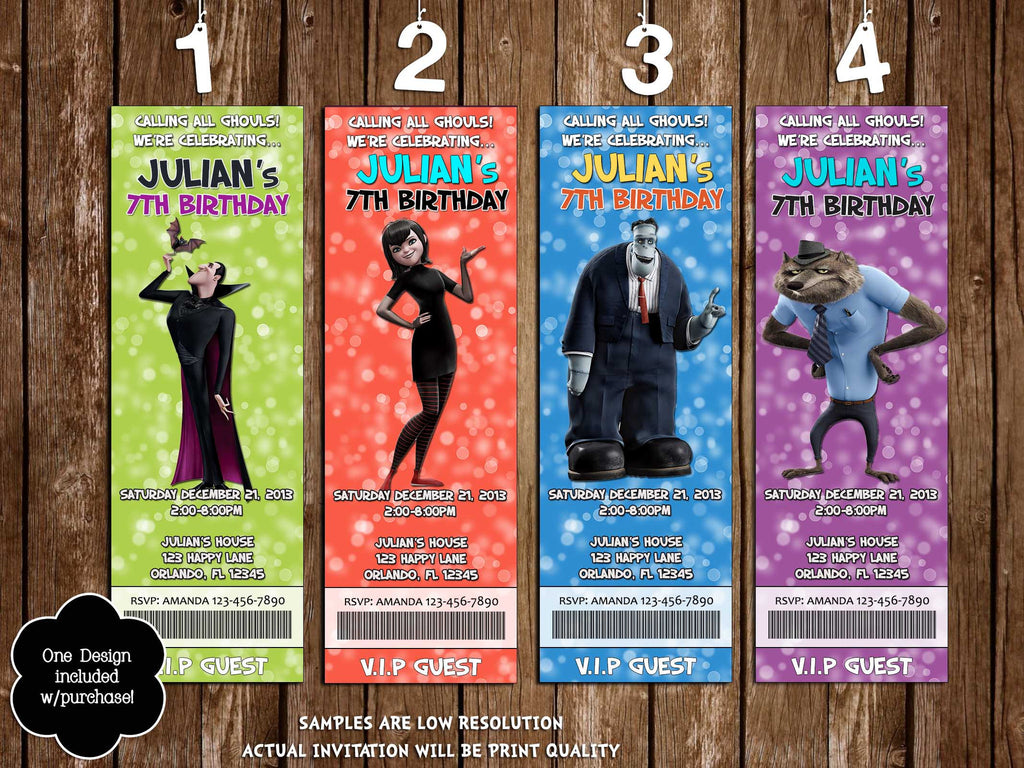 Hotel Transylvania 2 Birthday Party Ticket Invitation