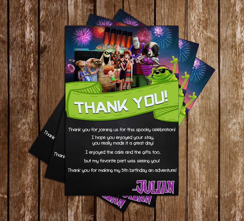 Hotel Transylvania 3 - Dots - Birthday Party - Thank You Card