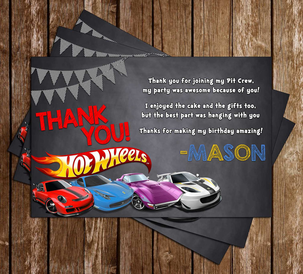 Hot Wheels - Cars - Birthday Party - Thank You Card