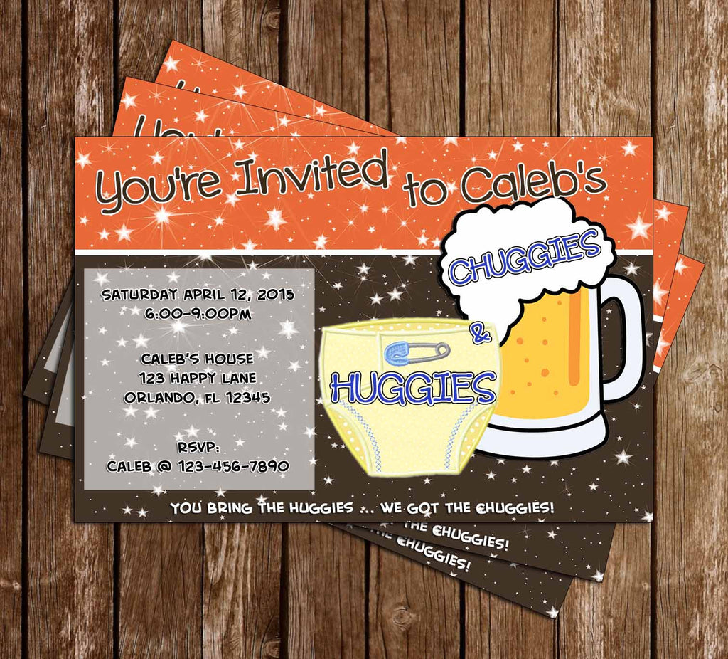 Man Shower - Huggies for Chuggies - Baby Shower Invitation