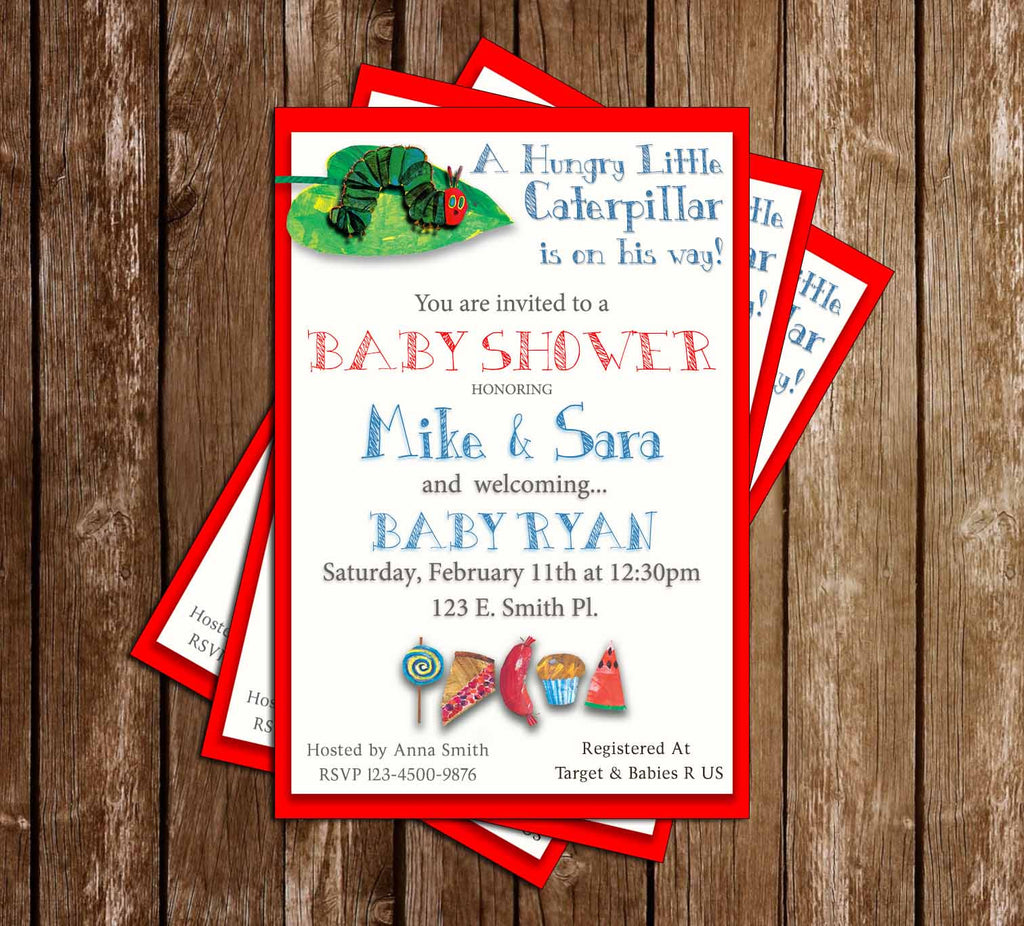 The Very Hungry Little Caterpillar - Tall - Baby Shower - Invitation