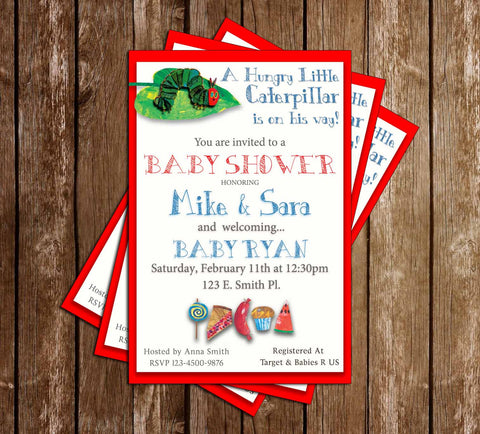 A Very Hungry Little Caterpillar - Tall - Baby Shower - Invitation