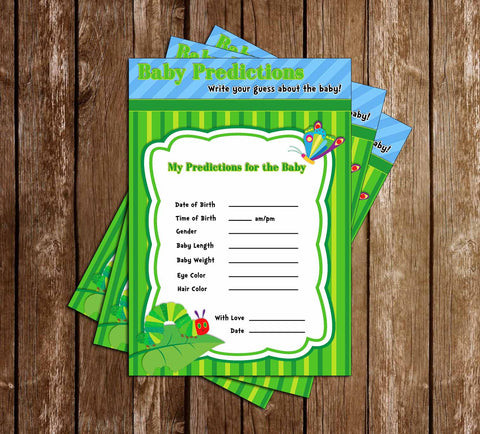 The Very Hungry Caterpillar Baby Shower Invitation - Baby Predictions Card