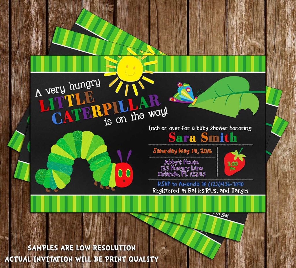 novel concept designs - the very hungry caterpillar baby shower, Baby shower invitations