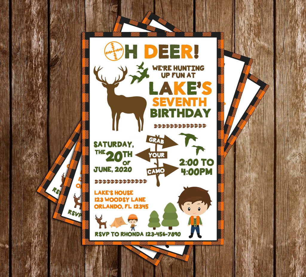 Novel Concept Designs Oh Deer Hunting Birthday Party Invitation