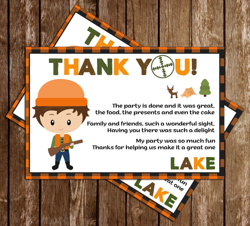 Novel Concept Designs Oh Deer Hunting Birthday Party Thank You Card
